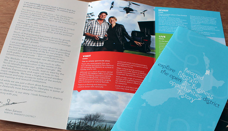 Sample of the tri-fold brochure developed for Open Waikato.