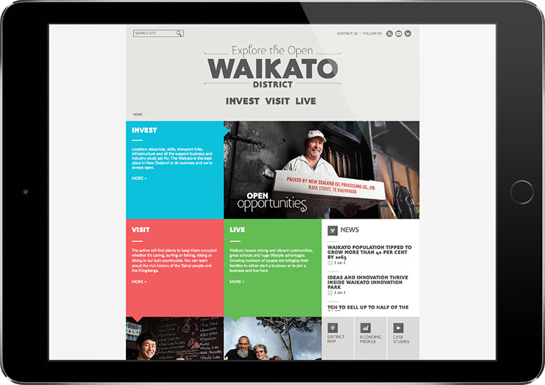 Webpage for Open Waikato displayed on tablet.