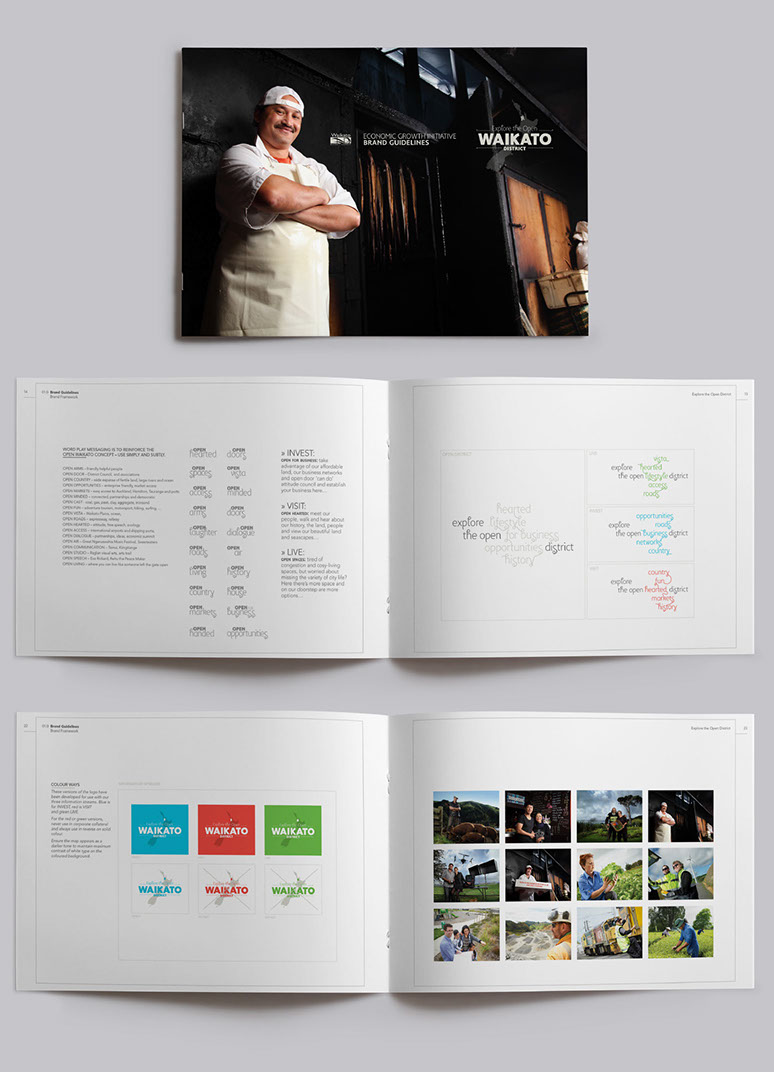 Sample spreads of the Open Waikato brand guidelines.
